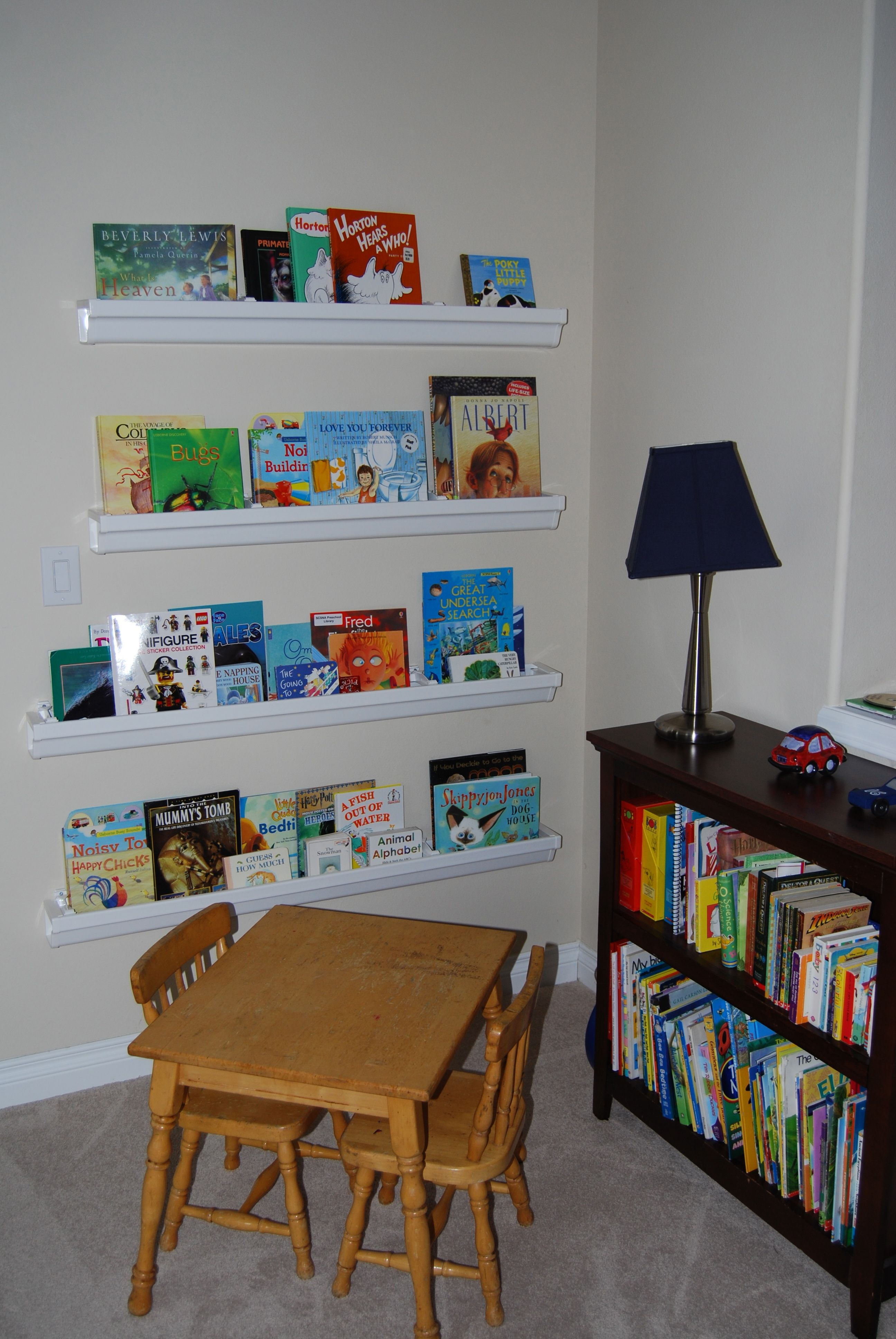 See My Rain Gutter Bookshelves