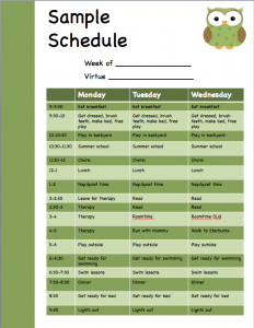 Sample schedule image